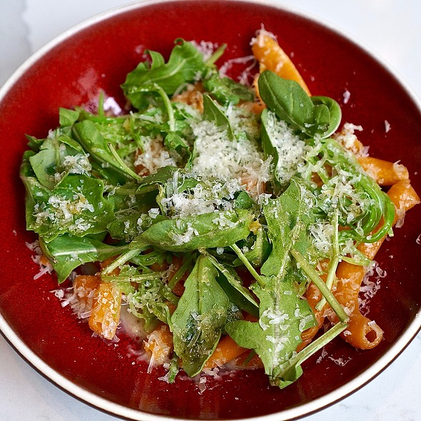 Calabrian chili campanelle, snow peas, pecorino, arugula, preserved meyer lemon @ The Albert