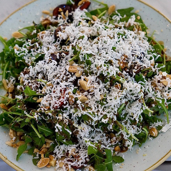 Arugula salad, cherries, marcona almonds, ricotta salata, balsamic @ Cafe Spiaggia