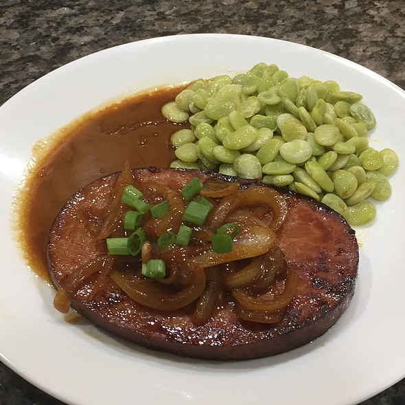 Ham Steak With Onion Ginger Sauce And Lima Beans @ My Cooking