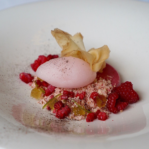 Raspberry cremeux, rose wine sorbet, almond tuile