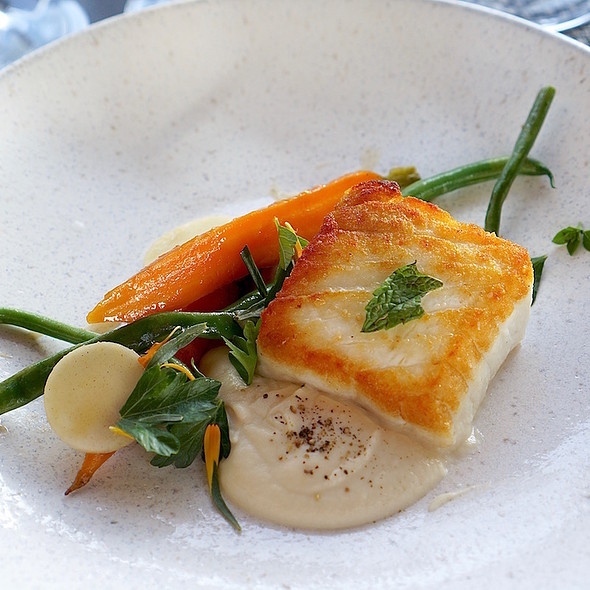 Day boat halibut, roasted carrots, haricot verts, kohlrabi, cauliflower sweet onion purée