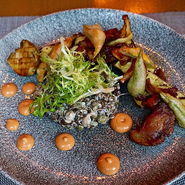 Salad of sprouted beans, peas and letils; mushrooms, baby zucchini with lemon thyme, squash blossoms, romesco sauce