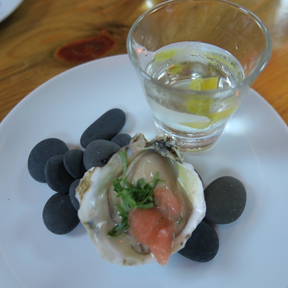 Aquavit Oyster Shooter With Cucumber, Ikura, And Lemon Oil