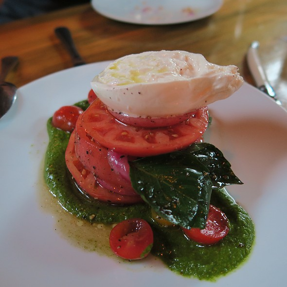 Heirloom Tomatoes With Burrata, Salsa Verde, Pickled Red Onion, Basil, And Agrumato