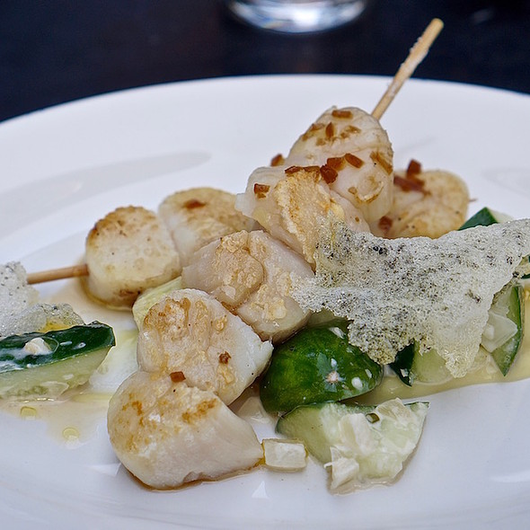 Bay scallops on a stick, cucumber, ginger