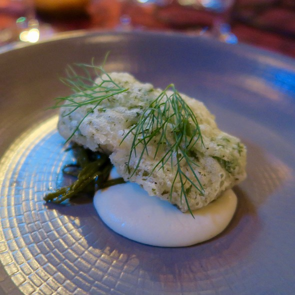 Ling Cod In Lovage Tempura With Green Garlic Sauce And Grilled Sea Beans