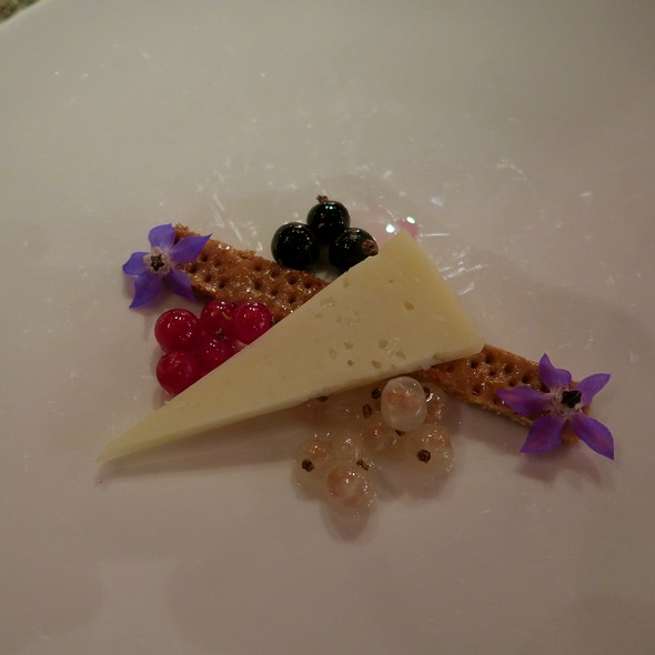 Raw-Aged Sheep And Cow Cheese With Caramelized Pie Dough, Black Currants With Rosemary, White Currants With Lemon Verbena, And Red Currants With Oregano