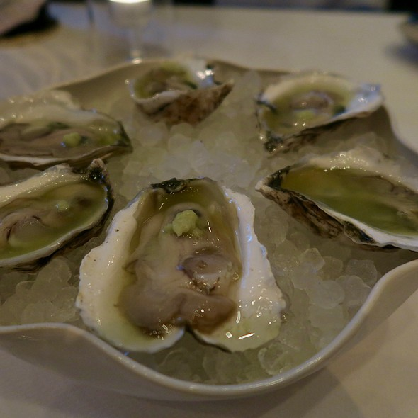 Moon Dancer Oysters On The Half Shell With Green Tomato Juice And Fresh Wasabi