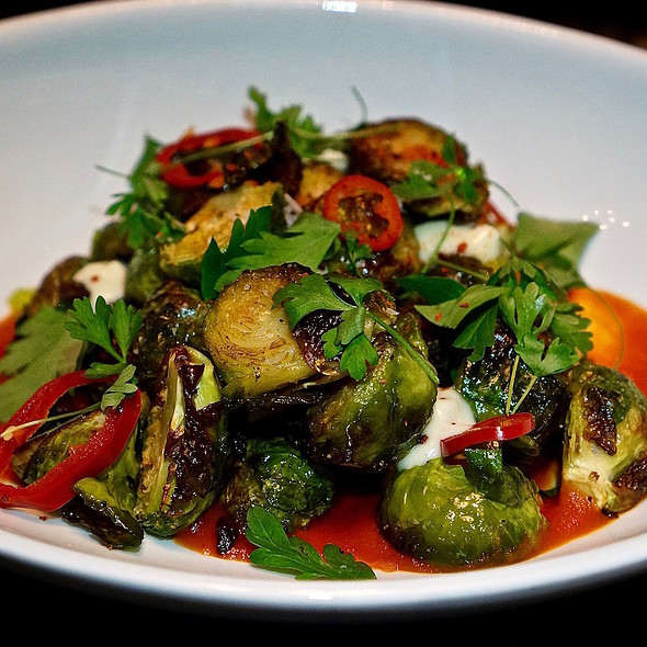 Brussels sprouts, guanciale, roasted red pepper coulis, guanciale aioli