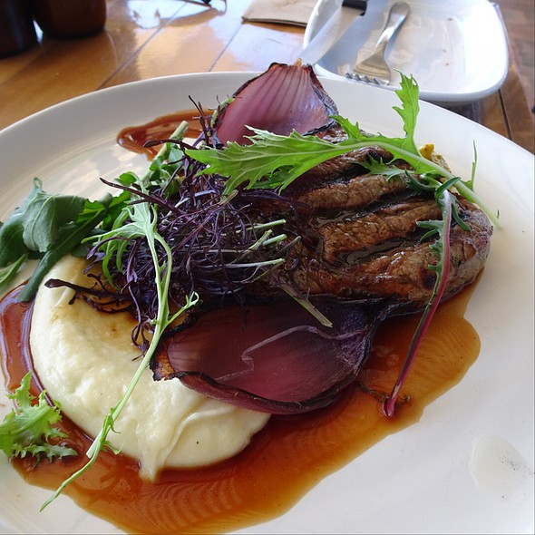 Rib Eye With Parsnip Puree And Onion With Port Wine Jus @ Three Blue Ducks in Byron