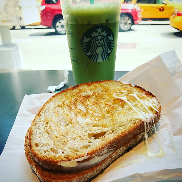 Grilled Cheese + Green Tea Latte @ Starbucks Coffee