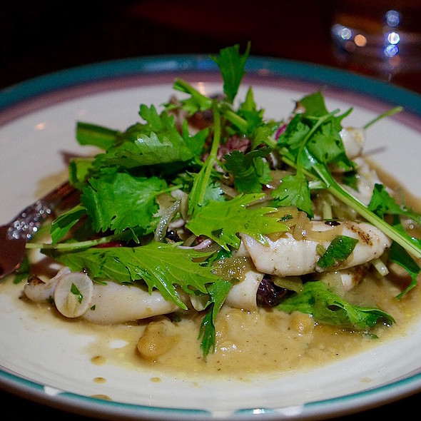 Grilled squid, white bean, escalivada, mizuna, radish