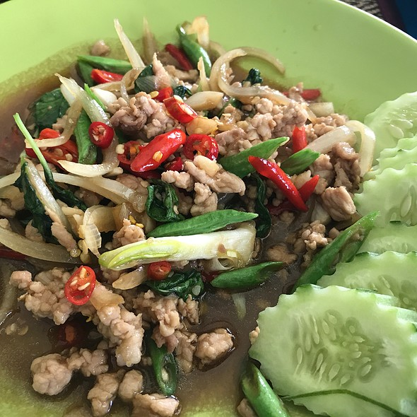 Fried Pork With Thai Basil Leaves And Chili