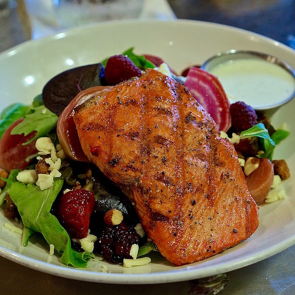 Salmon garden salad – beets, berries, cucumber, spiced nuts, Sheet's Creek cheddar, dill yogurt vinaigrette