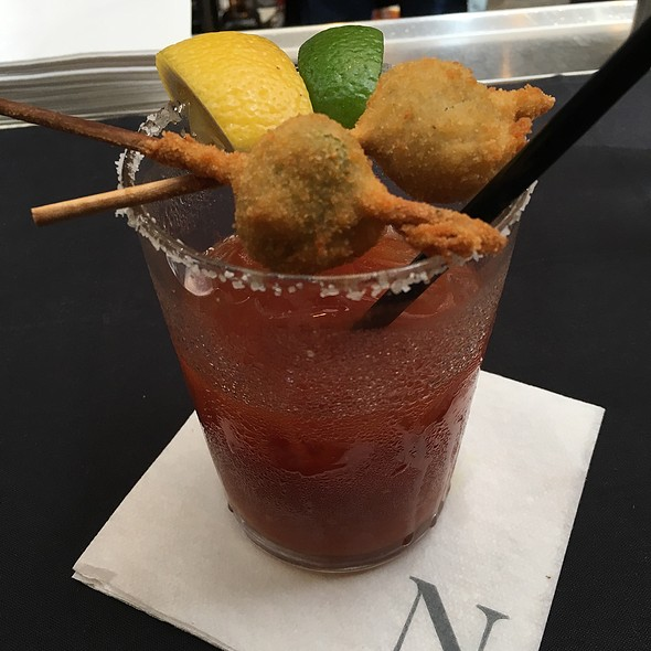 Bloody Mary With Fried Blue Cheese Stuffed Olives