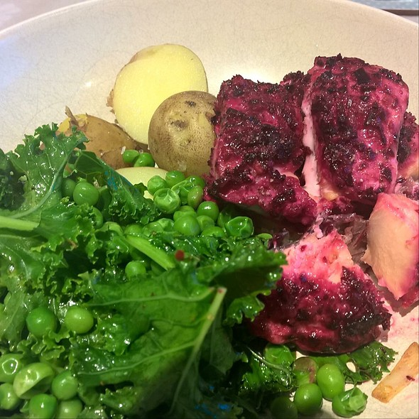 Salmon With Beetroot And Ginger, Kale, Peas And Potatoes