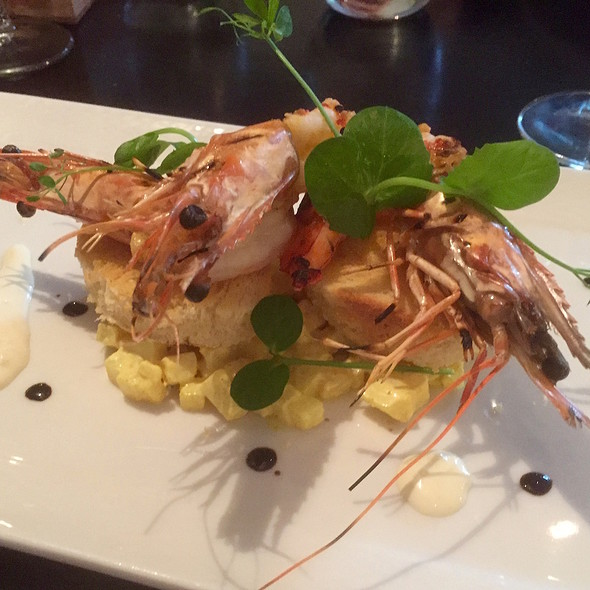 Gambas with aioli on toast of brioche and potato salad @ Thijs by Dikker & Thijs