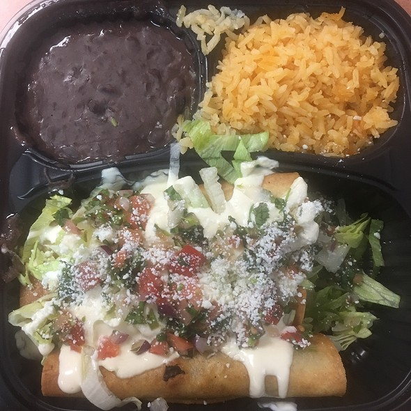 Beef Flautas with Rice and Beans