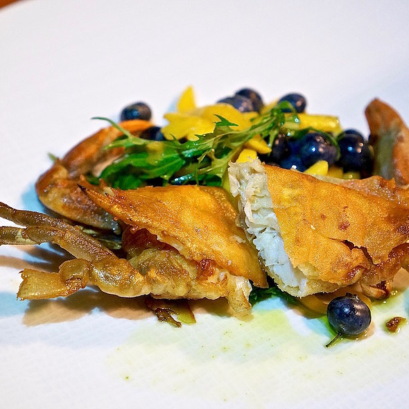 Crispy Maryland softshell crab, petit mizuna, blueberry, mango, yuzu-mint dressing