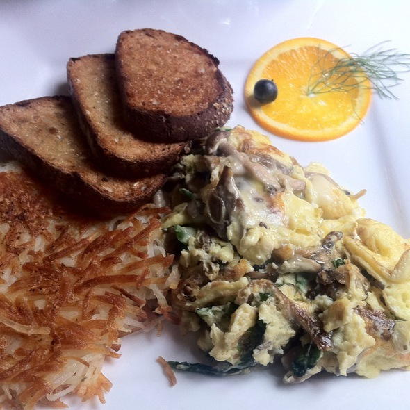 Wild Mushroom, Asparagus, Black Truffle Cheese Scramble with Baby Green Salad and Homemade Breads - Volterra, Seattle, WA