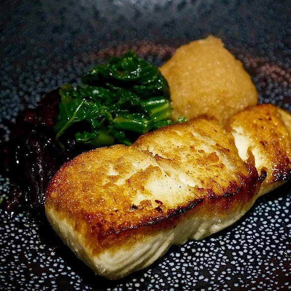 White fish, candied shiitake mushrooms, mustard greens, ponzu daikon
