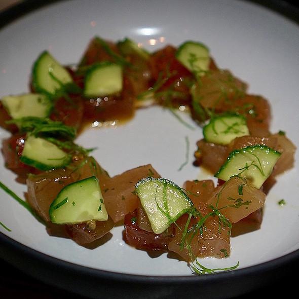 Albacore tuna poke, cucumber, coriander, shiso