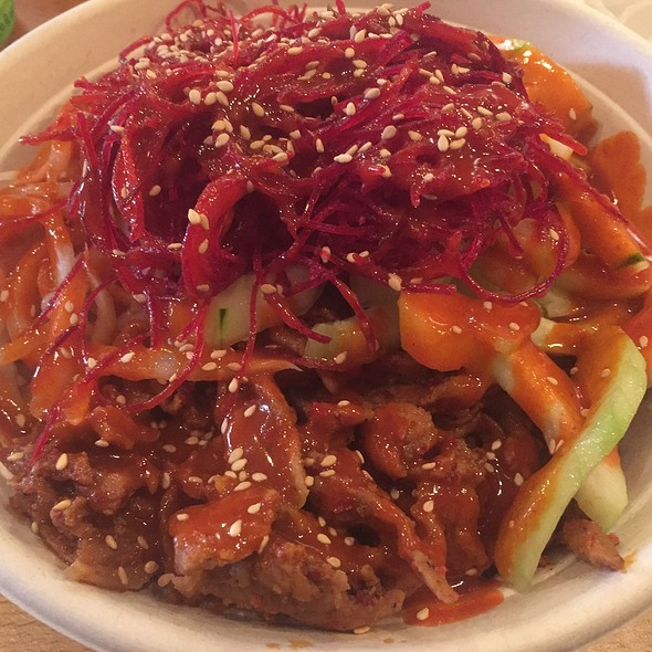 Spicy Pork Bulgogi Bowl With Purple Rice, Radish, Cucumber, Beets, Sesame Seeds, And Bean Sprouts