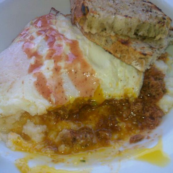 Grits With Turkey Sloppy Joe And Fried Eggs - Hedley's Restaurant, West Hollywood, CA