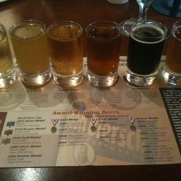 German Beer Sampler - Gordon Biersch Brewery Restaurant - Park Lane, Dallas, TX