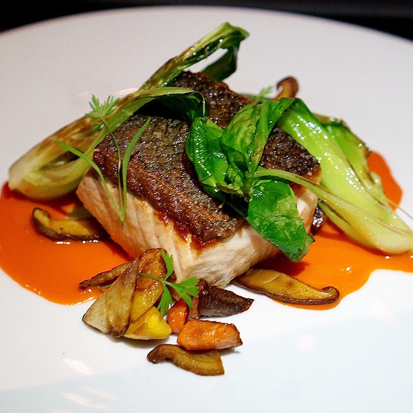 Salmon, bok choy, shiitake mushrooms, miso carrot