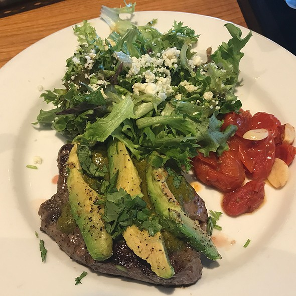 6 Oz Steak With Grilled Avocado And Fresh Greens