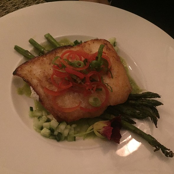 Seared Halibut With Grilled Asparagus, Cucumber Gazpacho, Nasturtium Blossoms, And Bell Pepper Scallion Salad