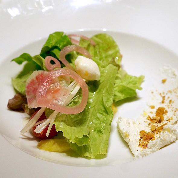 AG Farm tender leaves salad, caraway roasted carrots, lemon ricotta, quail egg, maple parmesan dressing