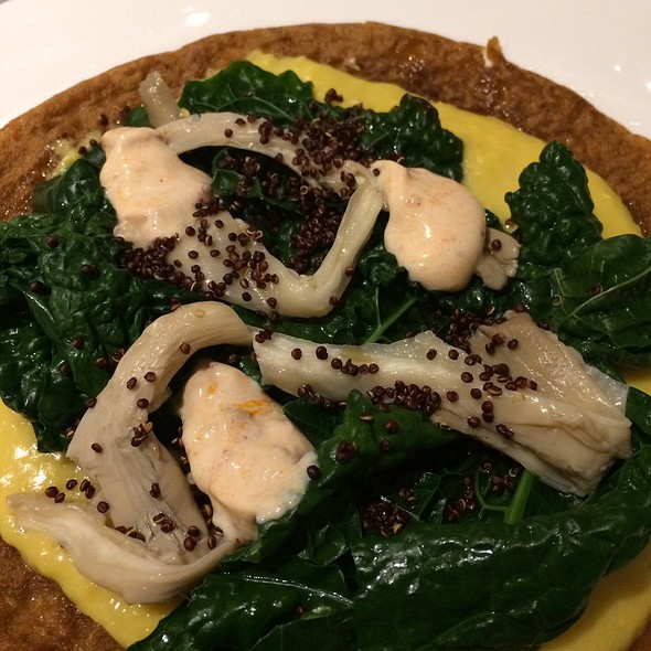 Chickpea Flatbread, Corn Puree, Kale, Crispy Quinoa And Yoghurt
