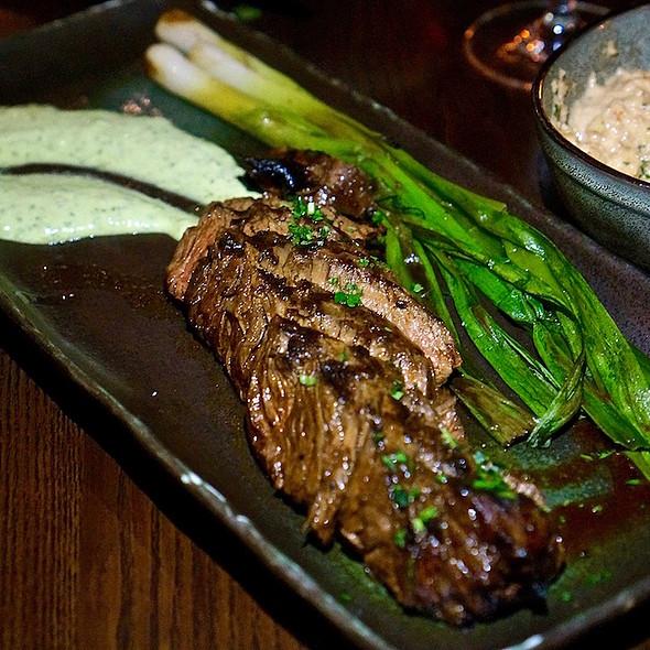 Wisconsin grass fed hanger steak, scallions, salsa verde