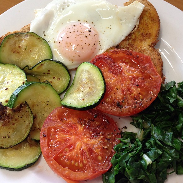 Breakfast - Fried Egg On Wholemeal Toast With Zucchini And Tomato