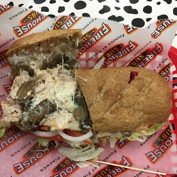 """The Engineer""--Turkey, Mushrooms, Cheese, Lettuce,Tomato, Onions--on Wheat Bread @ FIREHOUSE SUBS"