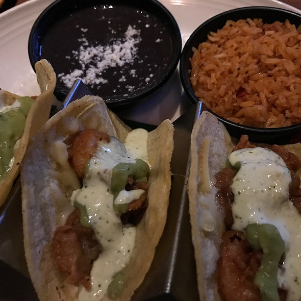 Beer Battered Shrimp Tacos With Black Beans And Rice