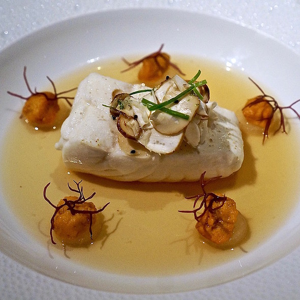 Poached halibut, matsutake mushroom-black sesame salad, sea urchin-dashi broth