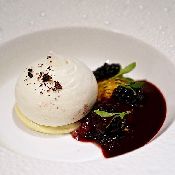 Blackberry-corn – corn custard, frozen corn meringue, blackberry-mezcal sorbet