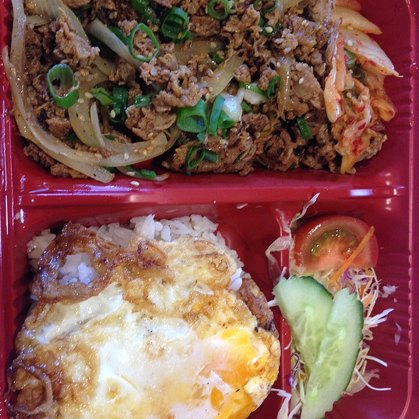 Korean BBQ Pork with Salad, Kimchi, Steamed Rice and Fried Egg $13.80