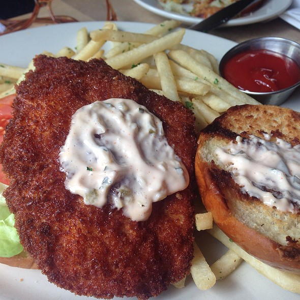 Chicken Schnitzel Sandwich With Fries @ Loreley Restaurant and Beer Garden