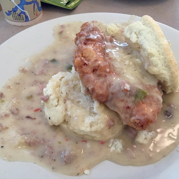 Charleston Nasty Biscuit with Fried Chicken Breast, Cheddar Cheese & Sausage Gravy