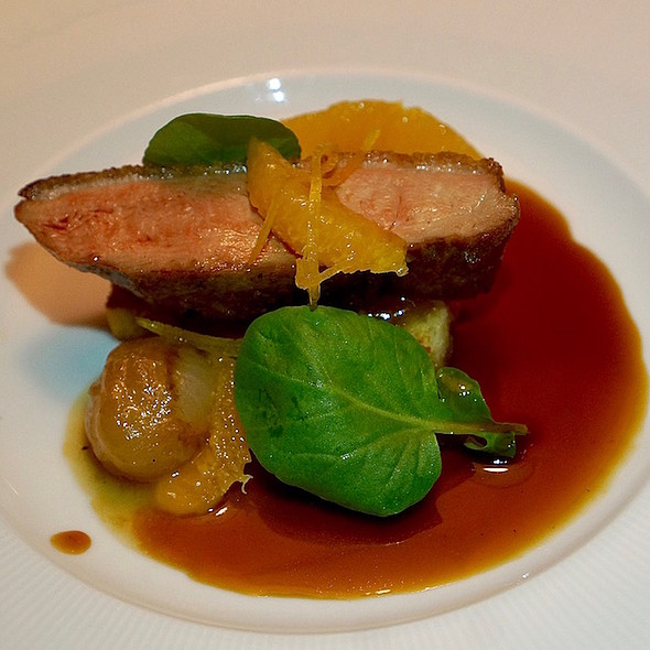 Pan-seared Pekin duck breast, foie gras, citrus, onions
