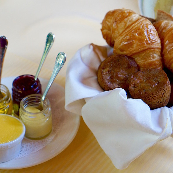 Breakfast pastries, lemon curd, preserves