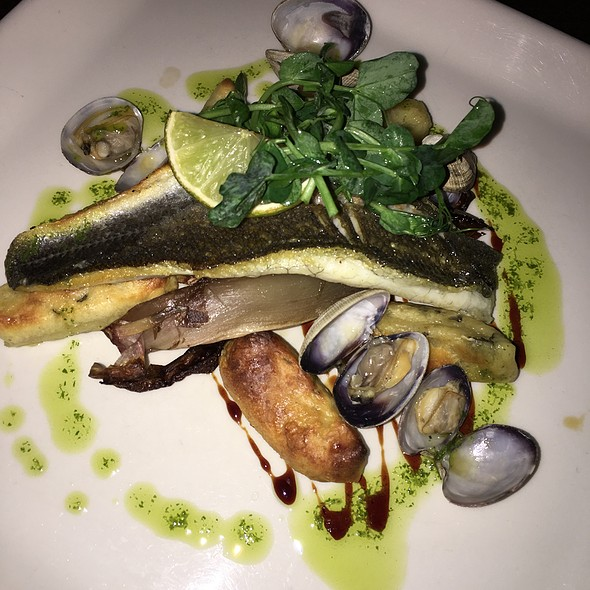 Roasted Seabass, Honeyed Red Chicory, Clams With Cider And Sage Gnocchi
