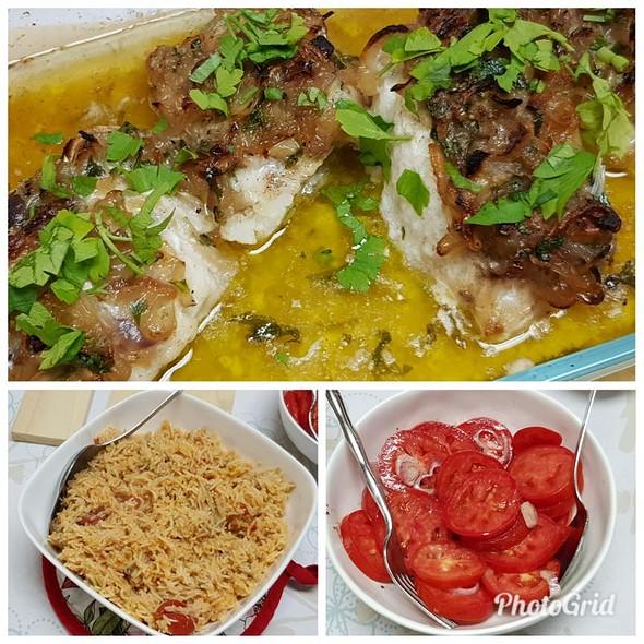 Baked Kingclip With Tomato Rice & Tomato Salad