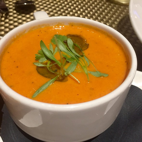 Smoked Tomato Soup with Jack Cheese Croutons and Micro Basil