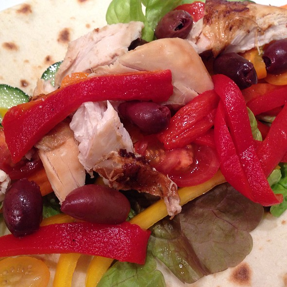 Bbq Chicken, Salad, Roasted Red Peppers And Olives In A Wrap