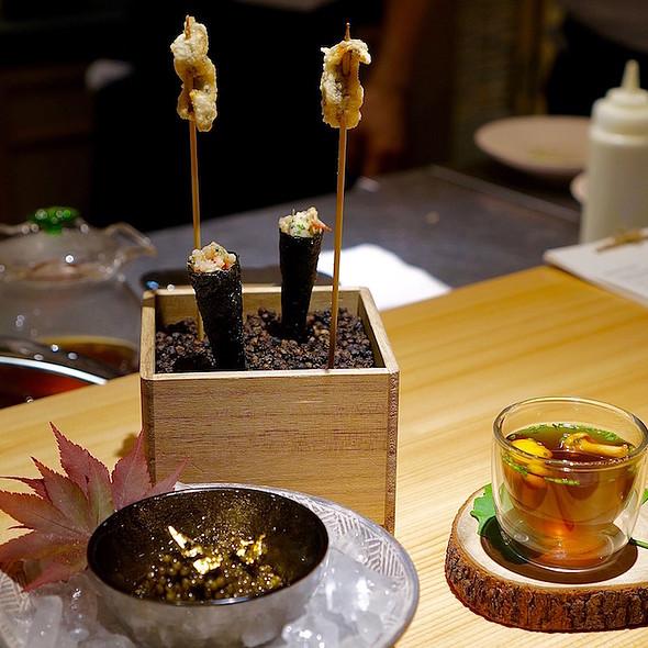 Snacks – fried kibinago herring, nori cone with dashi cream, Kristal caviar with rice tuile crackers, katsuobushi black tea dashi with girolles